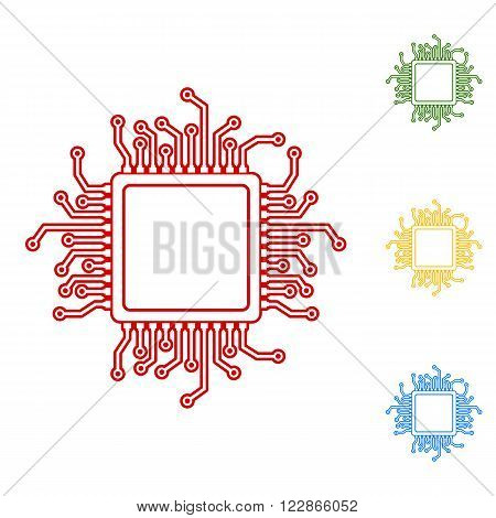 CPU Microprocesso. Set of line icons. Red, green, yellow and blue on white background.