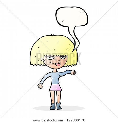 cartoon smug woman making dismissive gesture with speech bubble
