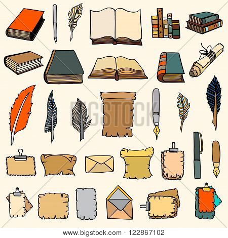 Hand Drawn Illustrations of Big Set Books and pen. Doodle vector illustration isolated on light Colored background.