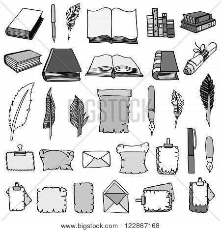 Monochrome Hand Drawn Illustrations of Big Set Books and pen. Doodle vector illustration isolated on white background.