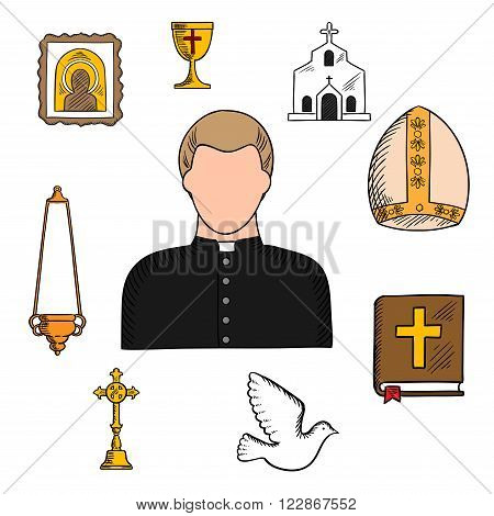 Priest in black robe and white collar with religious symbols such as church or temple building, the Bible and golden cross, bowl and candelabra on chain, ornate icon, white dove and mitre