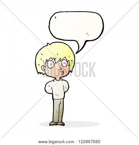 cartoon impressed boy with speech bubble