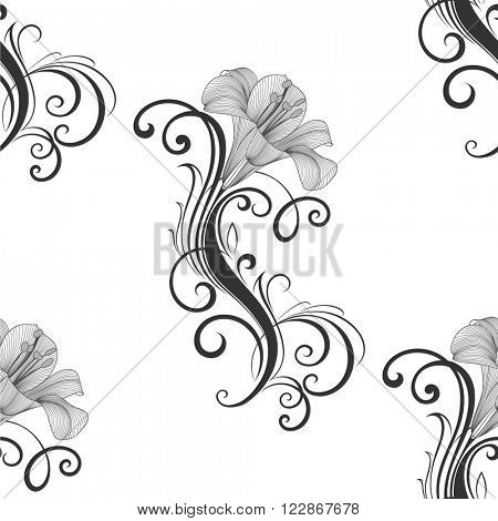 Seamless floral pattern with flowers lily. Element for design. Hand-drawing vector illustration.