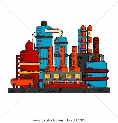 Industrial factory with manufacture building and system of pipes, chimneys or cooling towers. Oil and gas industry, chemical or power plants, environment theme design
