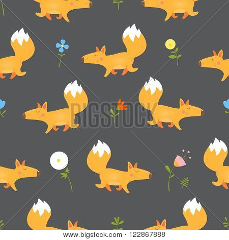 Seamless pattern with  cute cartoon foxes. Forest glade with flowers. Vector image.