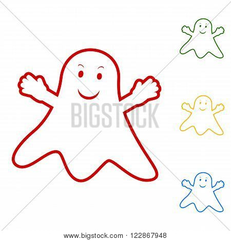 Ghost isolated sign. Set of line icons. Red, green, yellow and blue on white background.