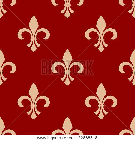 Ancient french floral royal seamless pattern with beige ornament of fleur-de-lis elements on red background. Vintage interior accessories or textile themes design