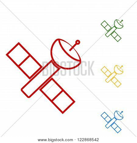 Satellite sign. Set of line icons. Red, green, yellow and blue on white background.