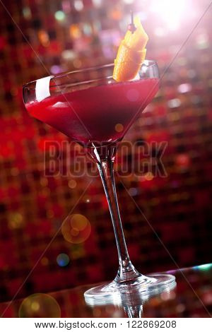 Cosmopolitan - Alcoholic Cocktail made from Vodka, Cointreau, Lime Juice and Cranberry Juice