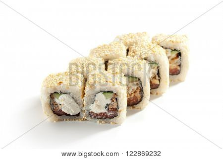Maki Sushi - Roll made of Smoked Salmon, Cream Cheese, Cucumber inside. Sesame ouside