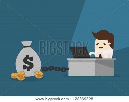 vector illustration money slave Chained To money