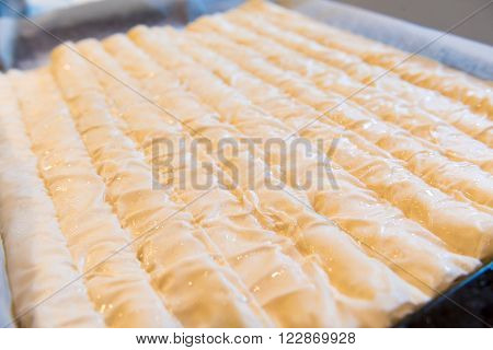Baked Homemade Traditional Balkan Dish Burek. Cheese Or Meat Pie