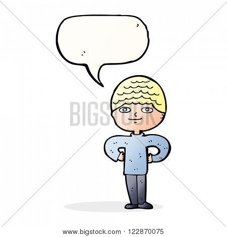 cartoon proud man with speech bubble