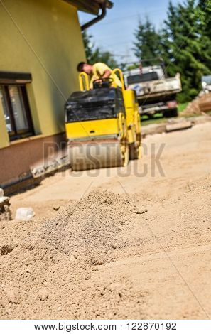 Making And Constructing A New Asphalt Road.