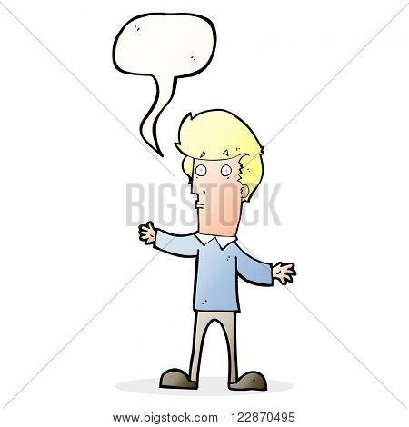 cartoon startled man with speech bubble