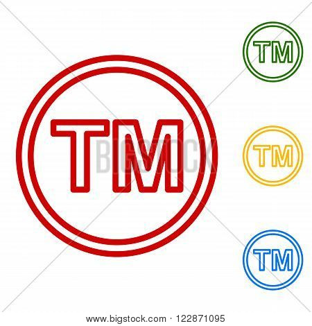 Trade mark sign. Set of line icons. Red, green, yellow and blue on white background.