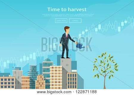 Businessman watering money tree from watering can. Concept of web banner with person standing on the top of building. Modern flat design of urban landscape with city buildings, vector illustration.