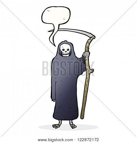 death cartoon with speech bubble