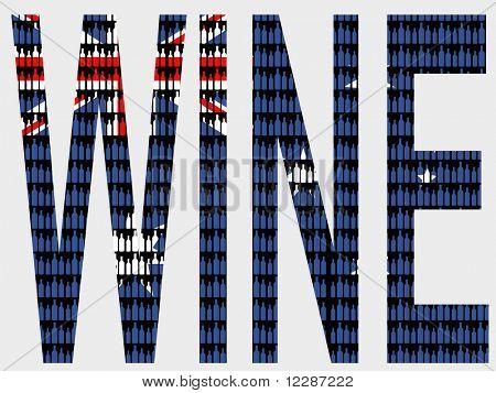 Wine bottles and australian flag illustration JPG