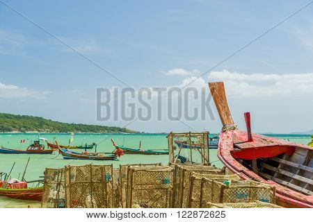 Phuket, Thailand - 20 JANUARY 2016: Long tail boats at the gipsy fisherman village in Rawai Phuket province Thailand. Phuket January 20,2016