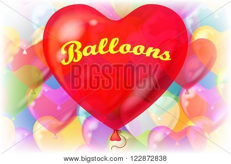 Holiday Valentine Background with Big Red Heart Shaped Balloon and Bright Colorful Balloons Behind. Eps10, Contains Transparencies. Vector