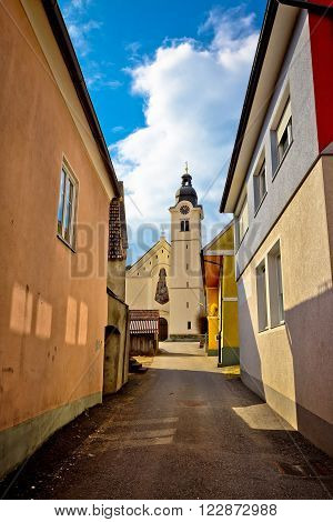 Town of Bad sankt Leonhard im Lavanttal colorful streetscape and church vertical view Carinthia Austria