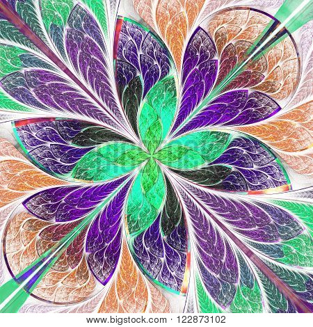 Multicolored fractal flower or butterfly in stained-glass window style on light. Computer generated graphics.