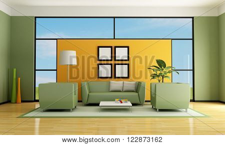 green and orange living room with sofa and armchair - rendering