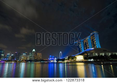 SINGAPORE CITY, SINGAPORE - FEBRUARY 21, 2016: Marina Bay Sands at night the largest hotel in Asia. It opened on 27 April 2010. Singapore on FEBRUARY 20, 2016