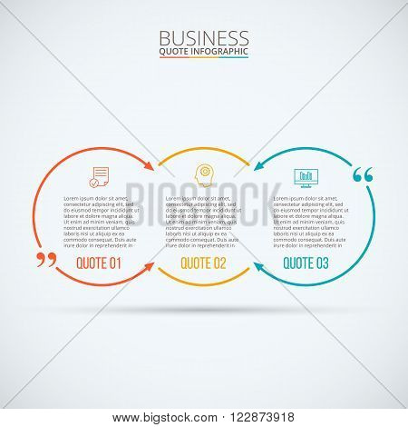Vector quote infographic. Template for diagram, graph, presentation and chart. Business concept with 3 options, parts, steps or processes. Data visualization.