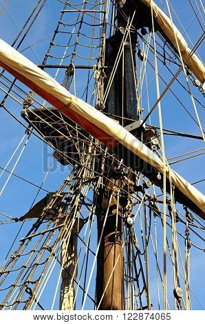 Rigging detail on the tall ship moored at Gloucester Docks Gloucester Gloucestershire England UK Western Europe.
