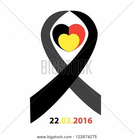 Belgian flag heart with ribbon in commemoration of the victims of the Brussels terrorist attack