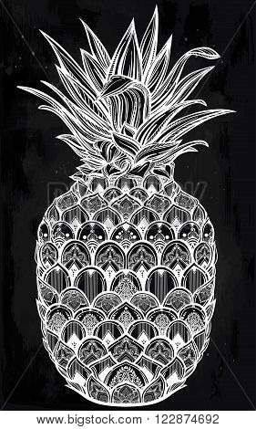Vector ornamental pineapple fruit. Ethnic art, patterned Indian paisley. Hand drawn illustration. Invitation element. Tattoo, astrology, alchemy, boho and magic symbol.