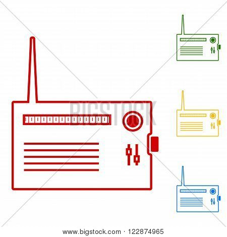 Radio silhouette. vector. Set of line icons. Red, green, yellow and blue on white background.