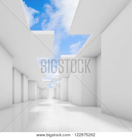 Abstract White Empty Room Interior With Sky
