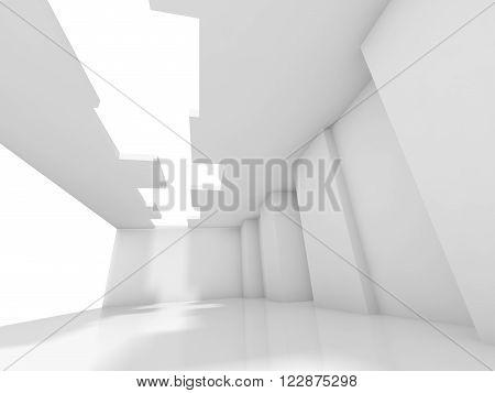 3D Empty Room Interior Background With Window