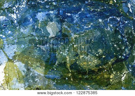 Marbling green blue hand drawn seamless paint abstract texture background painted water splashes smudges and stains