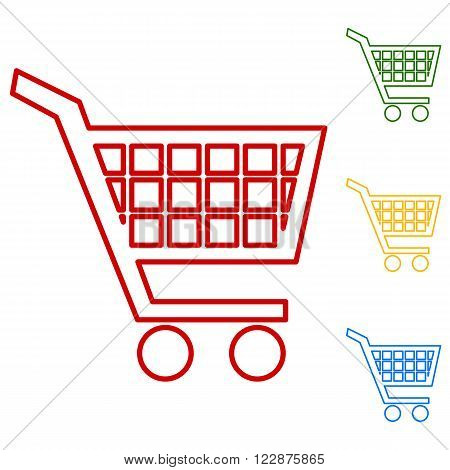 Shopping cart icons for online purchases. Set of line icons. Red, green, yellow and blue on white background.