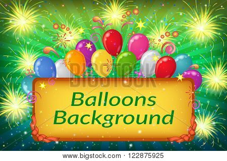 Holiday Background with Plate, Sparks, Patterns, Fireworks and Colorful Balloons on Green. Eps10, Contains Transparencies. Vector