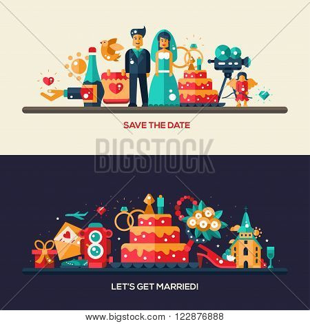 Flat design vector wedding and marriage proposal banners set with icons and infographic elements