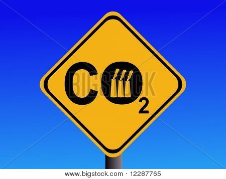 Warning CO2 emissions from industry sign illustration