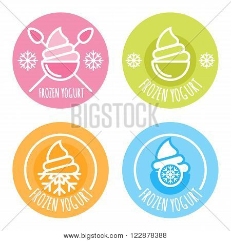 Set Of Vector Linear Logo, Label, Of Frozen Yogurt.