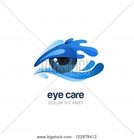 Vector illustration of abstract human eye in clean water splash. Logo emblem design elements. Concept for optical glasses shop oculist ophthalmology healthcare research. Natural organic eye care