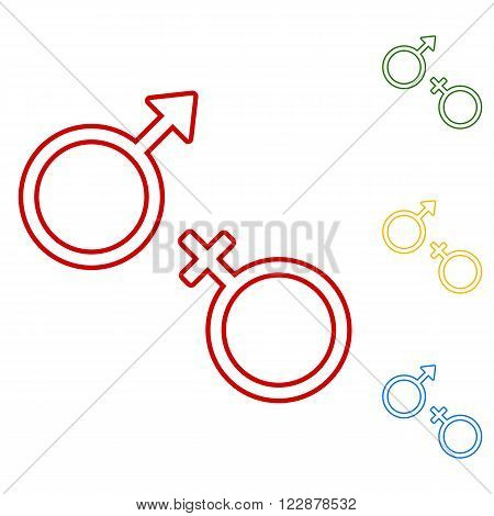 Sex symbol. Set of line icons. Red, green, yellow and blue on white background.