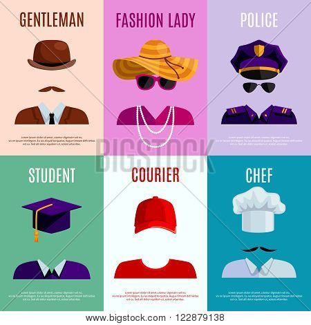 Flat mini posters set of gentleman lady police student courier and chef hats and accessories vector illustration