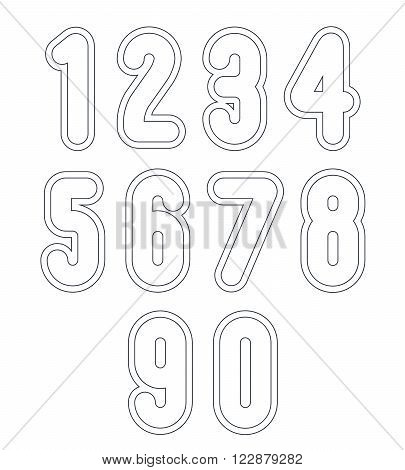 Delicate line retro numbers set vector light digits with outline isolated on white background. Elegant numbers with rounded corners.