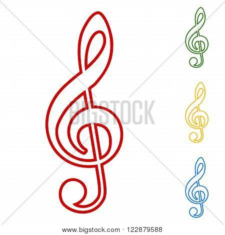 Violine clef line icons set. Red, green, yellow and  blue on white background