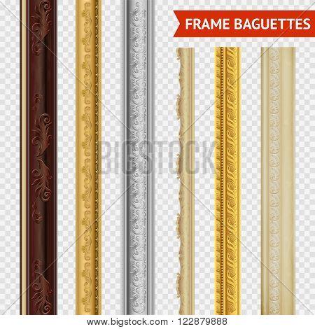 Frame baguette set on transparent  background wood carving baroque style vector illustration