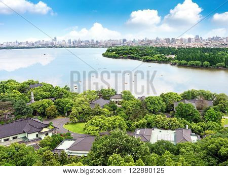 Aerial View of the West Lake and the city of Hangzhou China