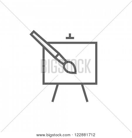 Easel and paint brush line icon.
